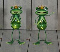 2er Set Garten Frosch Metall Figur Frösche inkl. Solar Lampe mit Tageslichtsensor 1