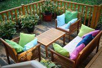 4x Outdoor Lounge Kissen 45x45cm viele Farben Dekokissen Wasserfest Sitzkissen Garten Stuhl 2