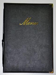 Edel Speisekarte Classic Securit A5 Schwarz Prägung Menu Menükarte [1]