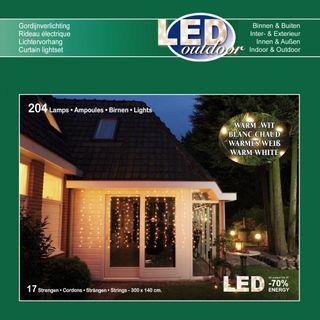 204 LED Vorhang Lichterkette 17 Stränge Warmweiß 3 m x 1,4 m [2]