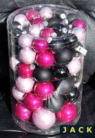 60x Glas Christbaumkugeln Pink Rosa Schwarz Glanz+Matt Kugeln 4,5,6,7 cm 7