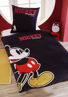 Renforce Bettwäsche 135x200cm Mickey Mouse Maus Disney Retro Schwarz 001