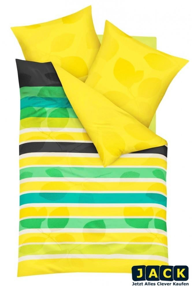 kaeppel biber bettw sche offset zitrone gelb gr n 200x200cm 3 tlg rv ko tex ebay. Black Bedroom Furniture Sets. Home Design Ideas