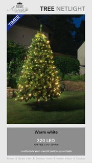 320 LED Trapez Kegel Warmweiß Netz für Weihnachtsbaum Timer 210-250cm Lichternetz [3]