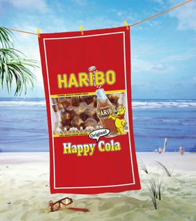 Global Labels Haribo Happy Cola Velours Strandtuch Bärchen 75x150 cm [1]