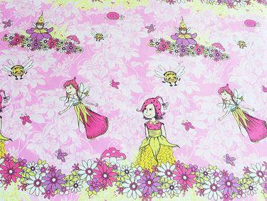1B Bierbaum Renforce Linon Bettwäsche 135x200cm 2tlg. Feen Feenwiese Blumen Pink [3]