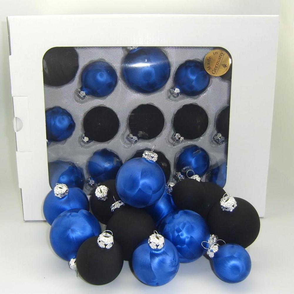 Jack 59x glas christbaumkugeln 4 5 6 7 cm dunkel blau for Christbaumkugeln blau