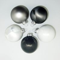 JACK 59x Glas Christbaumkugeln 4 5 6 7 cm teilw Eislack Weiß, Grau + Anthrazit 9