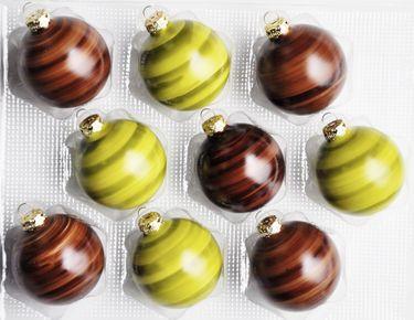 JACK 9x Glas Christbaumkugeln 7cm Holzoptik Braun + Grün Weihnachtskugeln [1]
