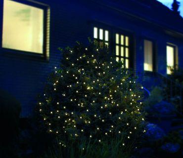 LED Batterie Lichternetz 100 Lichter 1,5 x 1,5 m mit Timer Warm Weiß Innen+Außen [2]