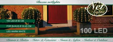 LED Netz Rund Lichterkette 100 LEDs Buchsbaum Beleuchtung Warmweiss Ø 0,9m [3]