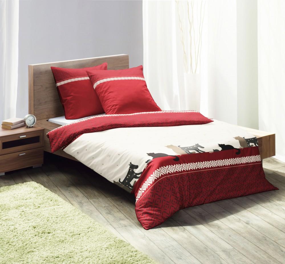 fleuresse microfaser fleece bettw sche 135x200cm hunde katzen rot creme bettw sche bettw sche. Black Bedroom Furniture Sets. Home Design Ideas