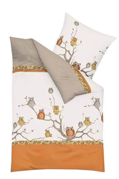 kaeppel biber bettw sche eulentreff eulen orange 2tlg bettw sche bettw sche 155x220cm. Black Bedroom Furniture Sets. Home Design Ideas