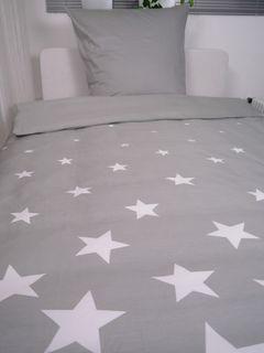 1B Mako Satin 2 tlg. Bettwäsche 155x220cm Stern Sterne  [2]