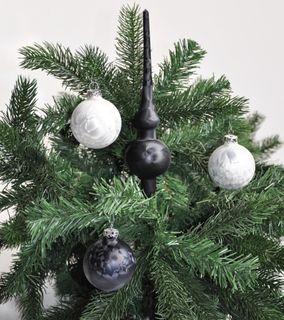 JACK Eislack Glas Christbaumkugeln 15x Kugel 6cm + 1x Spitze 25cm Schwarz / Weiß [2]