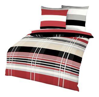Kaeppel Biber Bettwäsche Set Prime Time Rot Schwarz Weiß Streifen [1]