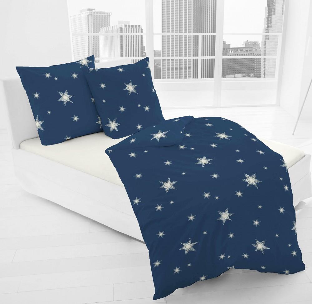 Jack By Dormisette Fein Biber Bettwäsche Stern Sterne Blau Weiß