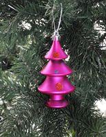 9x Christbaumkugeln Baum 5,5 x 10,5 cm Kunststoff Glitzer Matt Rot Pink Türkis 3