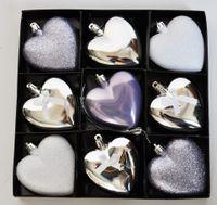 9x Christbaumkugeln 7cm Herz Herzen Flieder Silber Weiß Glitzer Glanz Kunststoff 2