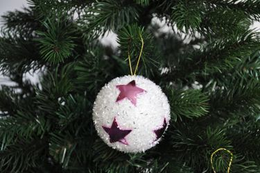 12x Glitzer Christbaumkugeln 8cm mit Sternen Kristalloptik Weiß Pink Kunststoff [2]