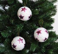 12x Glitzer Christbaumkugeln 8cm mit Sternen Kristalloptik Weiß Pink Kunststoff 1