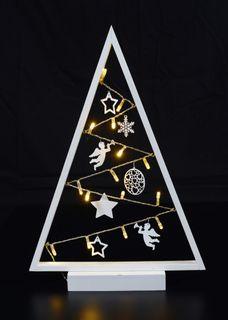 15 LED Lichter Baum Pyramide Weiß 27x40cm Batterie Lichterbaum [1]