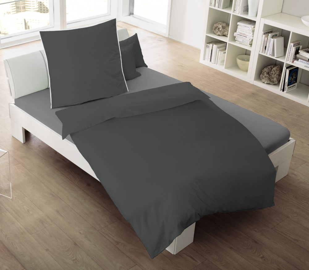 jack by dormisette satin bettw sche 135x200cm uni titan. Black Bedroom Furniture Sets. Home Design Ideas