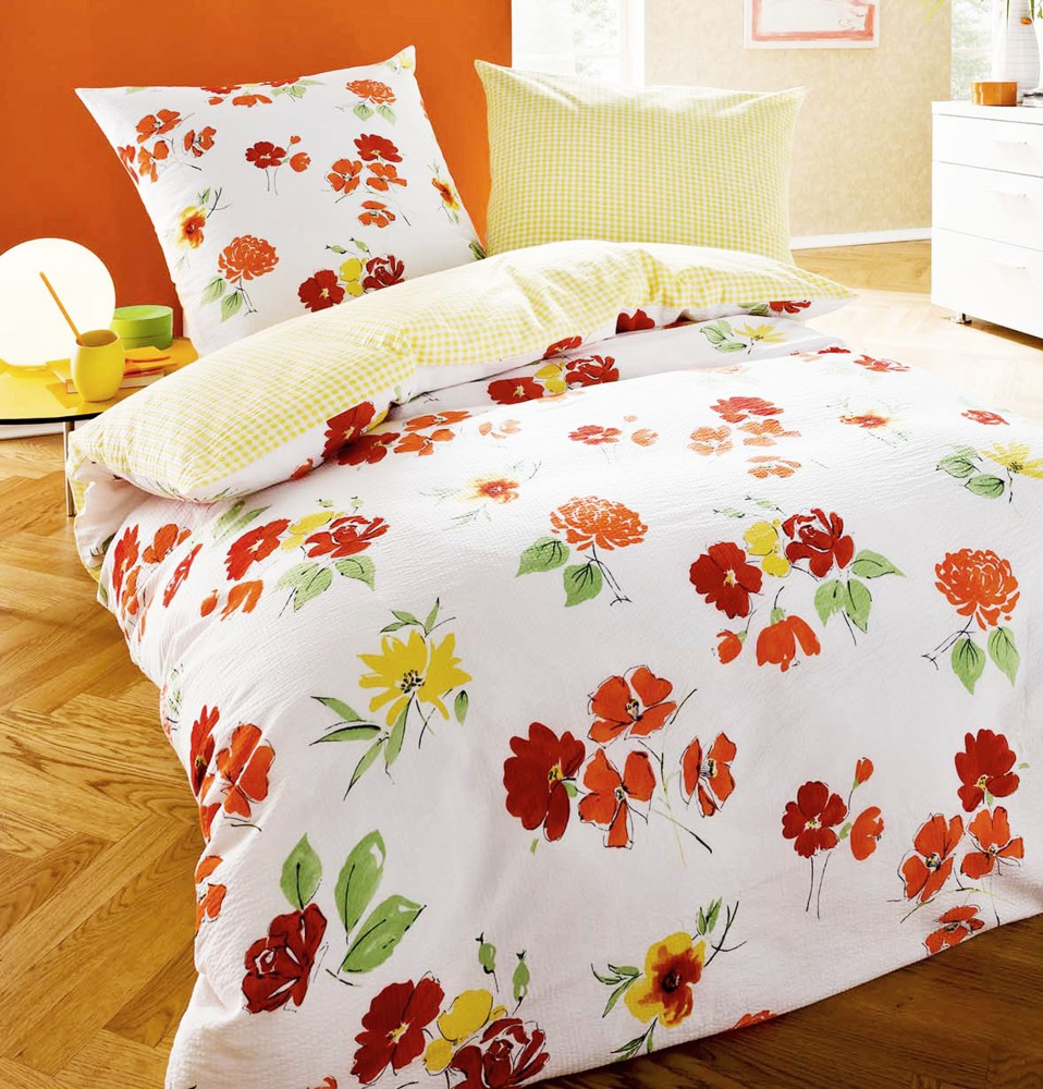 kaeppel seersucker bettw sche meadow blumen rot orange wei baumwolle bettw sche bettw sche. Black Bedroom Furniture Sets. Home Design Ideas