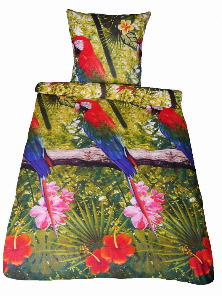fotodruck renforce bettw sche 135x200cm 2 tlg papagei. Black Bedroom Furniture Sets. Home Design Ideas