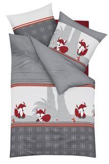 Kaeppel Biber Bettwäsche 2 tlg. Kleiner Fuchs Grau Silber Weiß Rot [2]