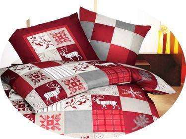 Kaeppel Biber Bettwäsche 2 tlg. Winterquilt Rot Silber Weiß Hirsch [3]