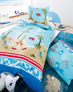 Kaeppel Junior Fein Biber Bettwäsche 2 tlg. 135x200cm Beach Fun Blau [1]
