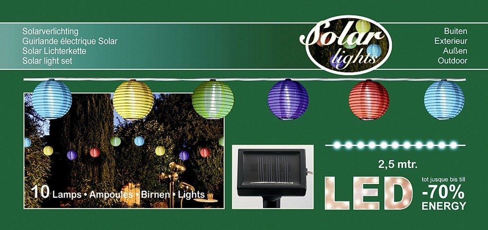10 led solar lampion partylichterkette 3 95 m bunt innen. Black Bedroom Furniture Sets. Home Design Ideas