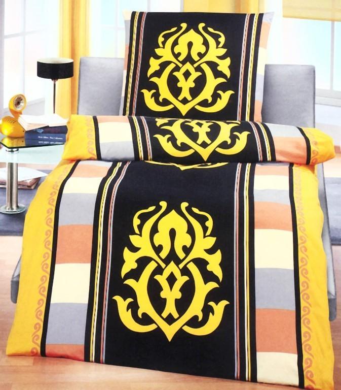 dormisette edel flanell bettw sche 135x200cm ornamente gelb blau bettw sche bettw sche 135x200cm. Black Bedroom Furniture Sets. Home Design Ideas