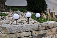 3x LED Solar Kugel 15cm Gartenlampe Gartenleuchte Leuchtkugel Erdspieß 6