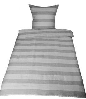 Mikrofaser Bettwäsche 135x200cm 2 tlg. Grau Gestreift Leinenoptik [3]