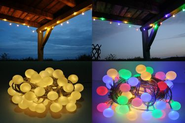LED Lichterkette Bunt oder Warmweiß Partylichterkette LEDs stabile Kugeln IP44 [1]