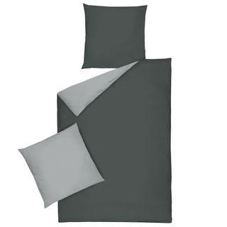Mako Satin Uni Wende Bettwäsche 135x200cm 2 tlg. Dormisette Einfarbig [2]