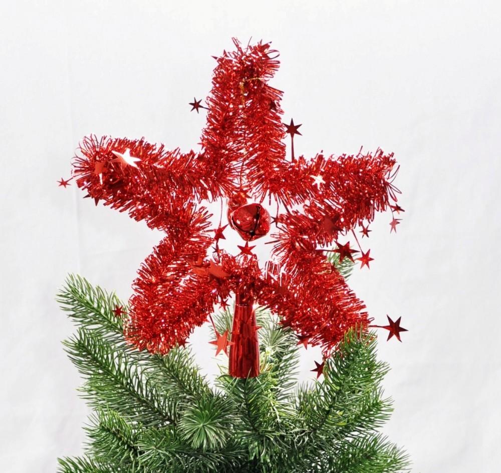 Christbaumspitze stern lametta 24 cm rot gold silber weihnachtsbaum spitze weihnachten - Weihnachtsbaum rot silber ...