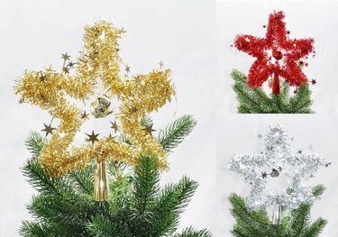Christbaumspitze Stern Lametta 24 cm Rot Gold Silber Weihnachtsbaum Spitze [2]
