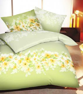 Kaeppel Mako Satin Bettwäsche 2 tlg. Aveline Frühlingsblumen Pistazie Grün Gelb [1]