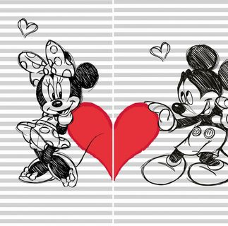 2x Velours Partner Strandtuch 75 x 150 cm Mickey + Minnie Handtuch Global Labels [1]