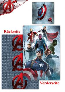 Renforcé Bettwäsche Age of Ultron 135x200cm 2 tlg. Marvel Avengers Global Labels [1]