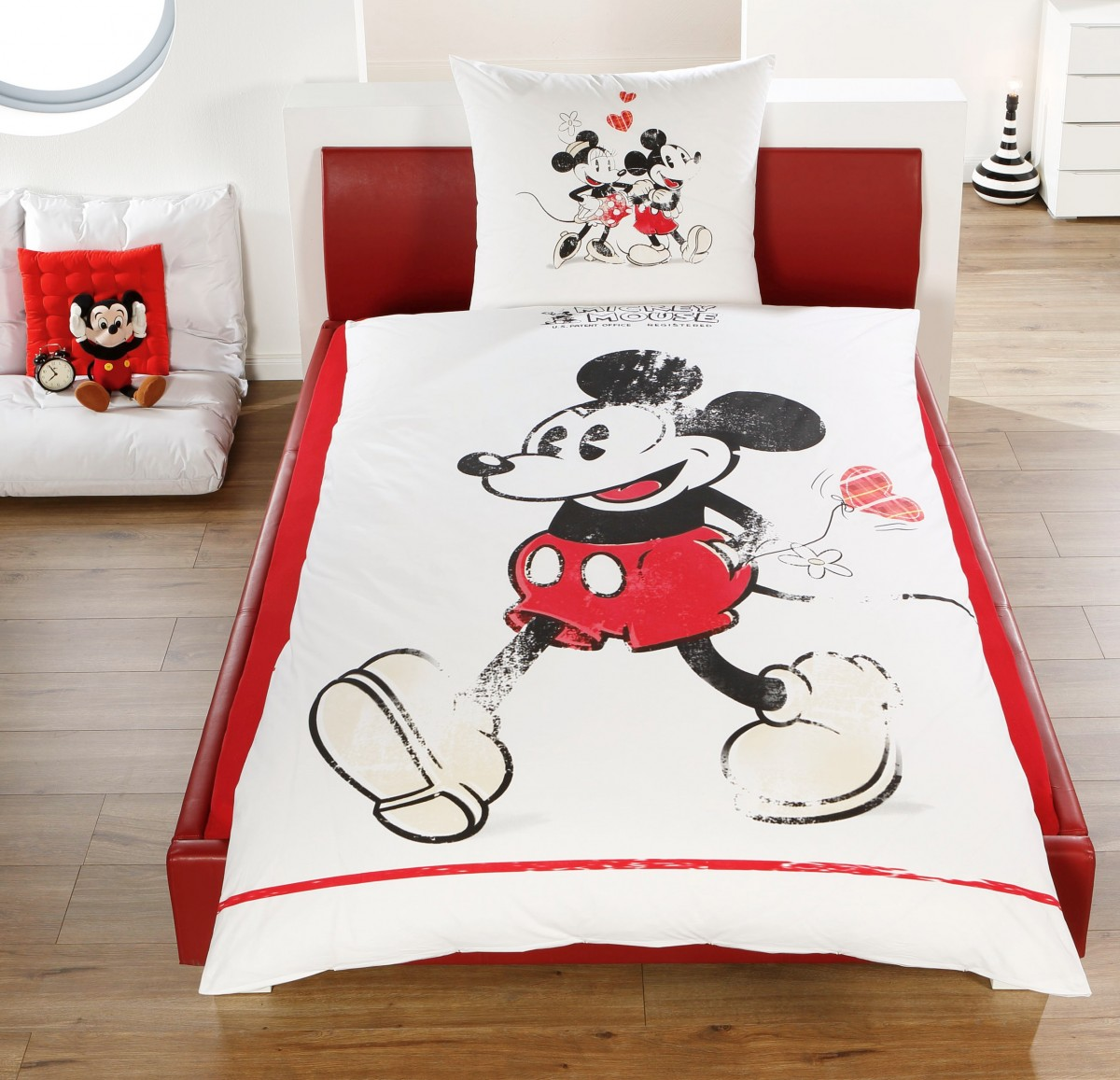 disney linon renforc wende bettw sche mickey minnie. Black Bedroom Furniture Sets. Home Design Ideas