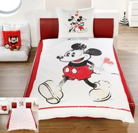 Disney Linon / Renforcé Wende Bettwäsche Mickey + Minnie Mouse 135x200cm 2 tlg. 1