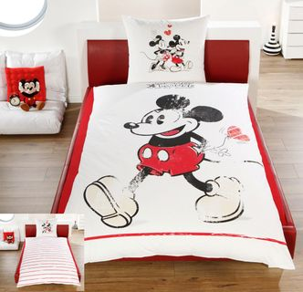 Disney Linon / Renforcé Wende Bettwäsche Mickey + Minnie Mouse 135x200cm 2 tlg. [1]