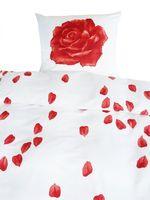 Mako Fein Batist Edel Bettwäsche 2 tlg. 135x200cm Rosenträume Rot Weiß 1