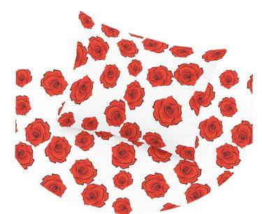2 teilige Mako-Satin Bettwäsche 100% Baumwolle Rose Rosen Rosenblüten Rot / Weiß [2]