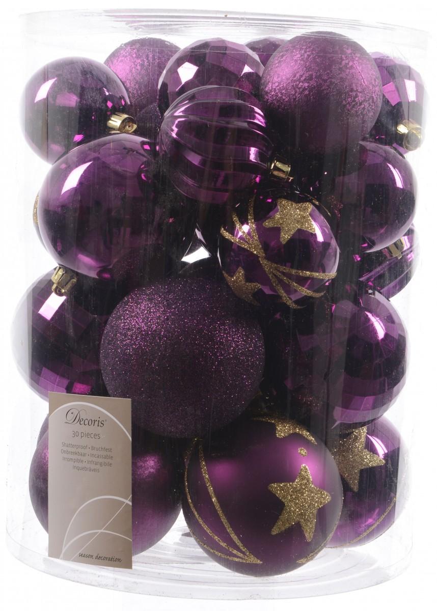 30x christbaumkugeln 6 8 cm kunststoff matt glanz glitzer braun lila pink weihnachten - Christbaumkugeln lila ...