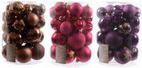 30x Christbaumkugeln 6+8 cm Kunststoff Matt Glanz Glitzer Braun / Lila / Pink 1